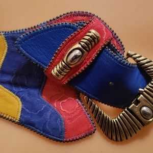 Accessories - wild 1980's multi color women's leather belt L
